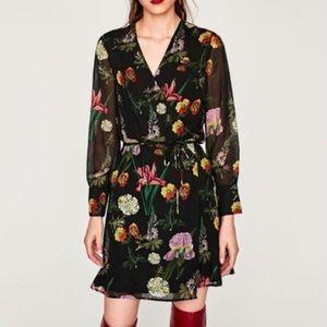 Zara Black Floral Tulip V Neck Mini Wrap Dress